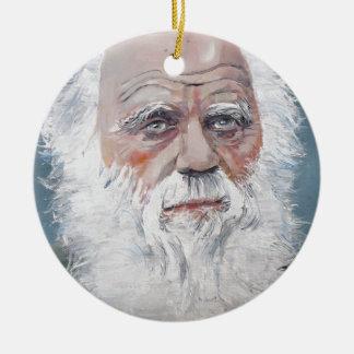 Ornement Rond En Céramique Charles Darwin - portrait d'huile