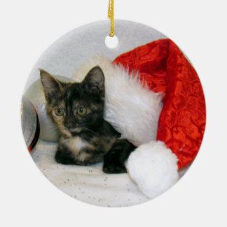 Ornement Rond En Céramique Chat, chaton, Noël, délivrance
