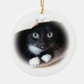 Ornement Rond En Céramique Chat dans un sac