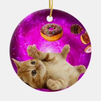 Ornement Rond En Céramique Chat de beignet - chat d'animal familier - chat de