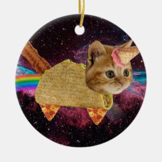 Ornement Rond En Céramique Chat de licorne - chat de taco - chat de l'espace