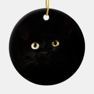 Ornement Rond En Céramique Chat de plots réflectorisés de vue de chat noir