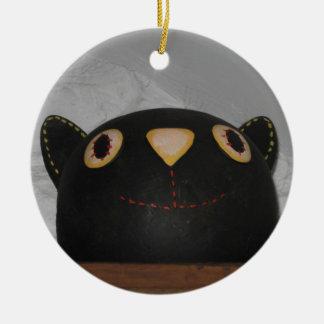 Ornement Rond En Céramique Chat noir