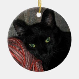 Ornement Rond En Céramique Chat noir de Halloween