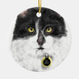 Ornement Rond En Céramique Chat noir et blanc