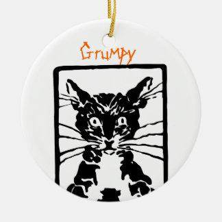 Ornement Rond En Céramique Chat noir grincheux pour la personne ou le chat