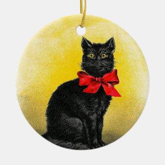 Ornement Rond En Céramique Chat noir vintage