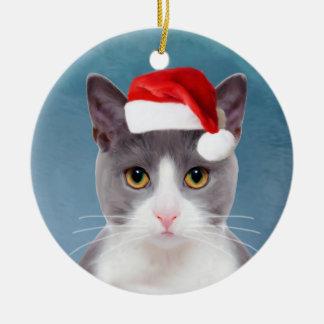 Ornement Rond En Céramique Chat portant le portrait de Noël de casquette de