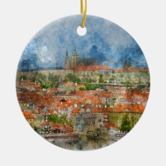 Ornement Rond En Céramique Château de Prague avec le pont célèbre de Charles