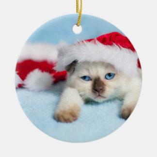 Ornement Rond En Céramique Chaton siamois : Noël Kitty