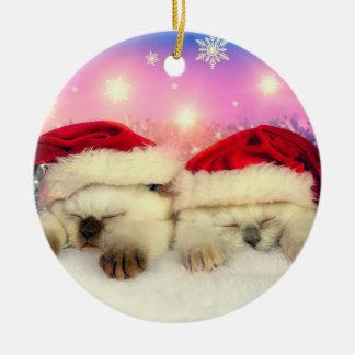 Ornement Rond En Céramique Chaton siamois : Père Noël Twinsies