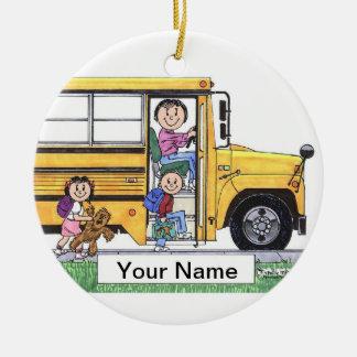Ornement Rond En Céramique Chauffeur d'autobus scolaire - femelle