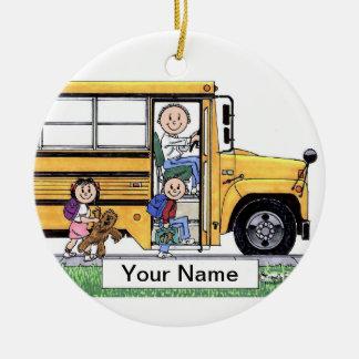 Ornement Rond En Céramique Chauffeur d'autobus scolaire - mâle