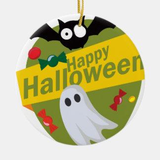 Ornement Rond En Céramique Chauves-souris et fantômes heureux de Halloween