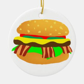 Ornement Rond En Céramique Cheeseburger de lard