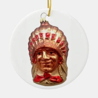 Ornement Rond En Céramique Chef de Natif américain