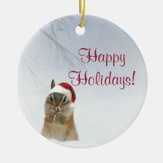 Ornement Rond En Céramique Chéri peu d'ornement animal de Noël de tamia