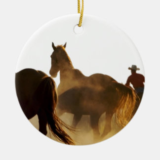 Ornement Rond En Céramique cheval de lasso de cowboy