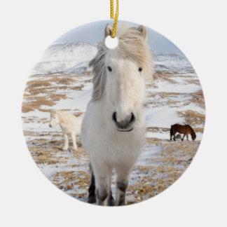 Ornement Rond En Céramique Cheval islandais blanc, Islande