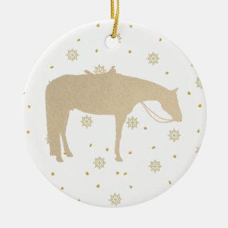 Ornement Rond En Céramique Cheval occidental blanc d'or de parchemin de