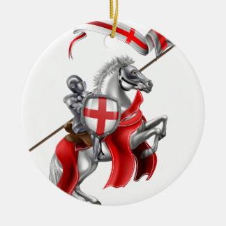 Ornement Rond En Céramique Chevalier médiéval de St George sur le cheval