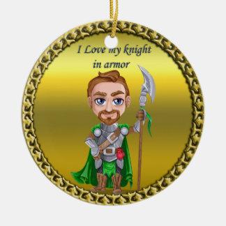 Ornement Rond En Céramique Chevalier vert et argenté dans son armure et épée