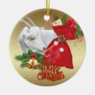Ornement Rond En Céramique Chèvre de Noël de Saanen avec l'esprit de vacances
