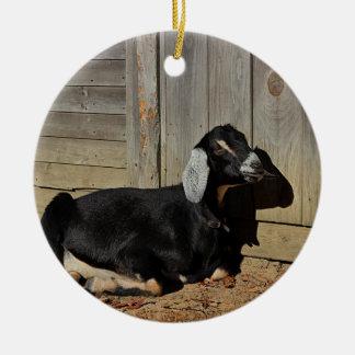 Ornement Rond En Céramique Chèvre noire