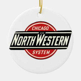 Ornement Rond En Céramique Chicago et logo du nord-ouest 1 de chemin de fer