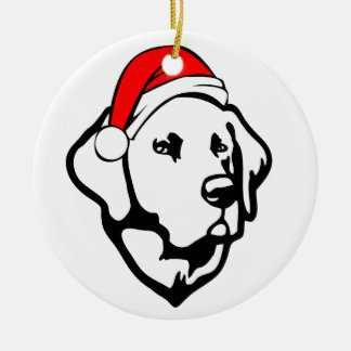 Ornement Rond En Céramique Chien de Labrador avec le casquette de Père Noël