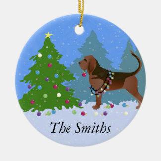 Ornement Rond En Céramique Chien de limier décorant l'arbre de Noël
