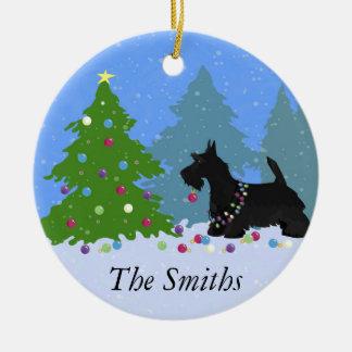 Ornement Rond En Céramique Chien de Terrier d'écossais décorant l'arbre de