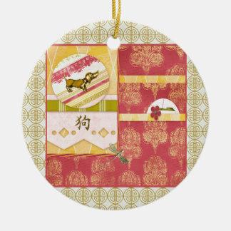 Ornement Rond En Céramique Chien d'or de teckel, résumé, damassé, conception