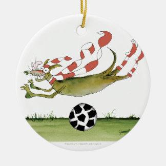 Ornement Rond En Céramique chien du football de rouges