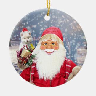 Ornement Rond En Céramique Chien esquimau américain de cadeaux de Noël du