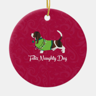Ornement Rond En Céramique Chien vilain de Feliz de Noël de chien de
