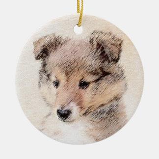 Ornement Rond En Céramique Chiot de chien de berger de Shetland