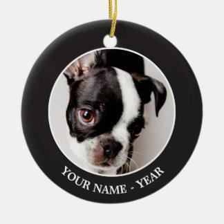 Ornement Rond En Céramique Chiot d'Edison Boston Terrier