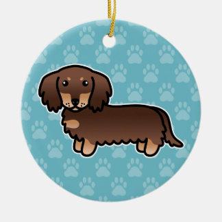 Ornement Rond En Céramique Chocolat et long chien bronzage de bande dessinée