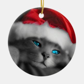 Ornement Rond En Céramique Christmas of cat -