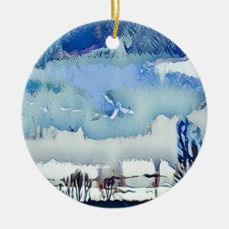 Ornement Rond En Céramique Ciel coloré d'horizon d'abrégé sur bleu d'hiver