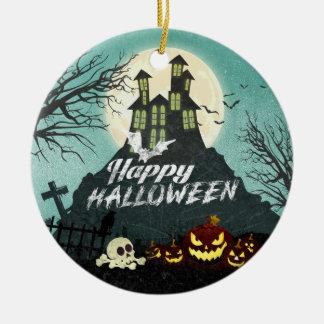 Ornement Rond En Céramique Ciel nocturne hanté éffrayant Halloween de costume