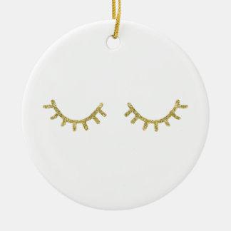 Ornement Rond En Céramique Cils de tape-à-l'oeil d'or