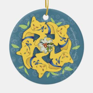 Ornement Rond En Céramique Cinq chats d'or…