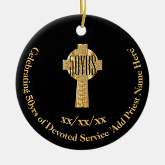 Ornement Rond En Céramique cinquantième Jubilé d'or de prêtre d'anniversaire
