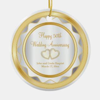 Ornement Rond En Céramique cinquantième Or et anniversaire de mariage blanc