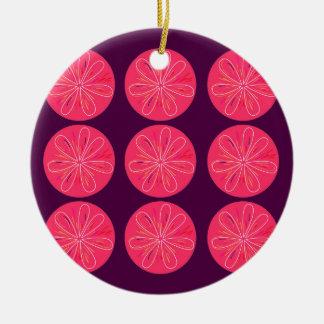 Ornement Rond En Céramique Citrons avec des tranches de vin