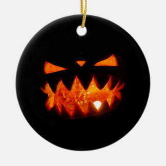 Ornement Rond En Céramique Citrouille de Halloween