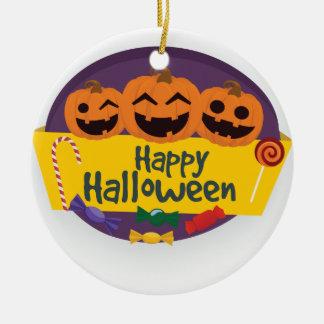 Ornement Rond En Céramique Citrouille heureux de Halloween