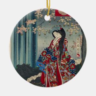 Ornement Rond En Céramique Classique japonais de cool d'art de Madame Japon